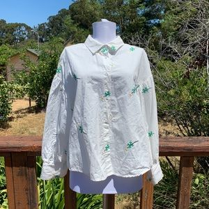 English fact embroidered flower puff sleeve blouse